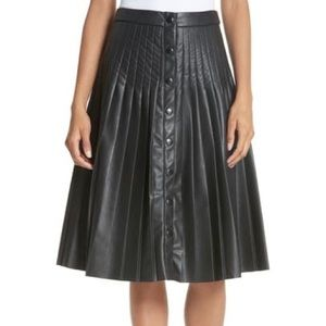 Rebecca Taylor Pleated Faux Leather Skirt Black 8